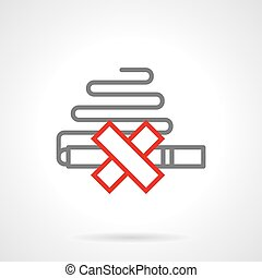 Smoking prohibition simple line vector icon