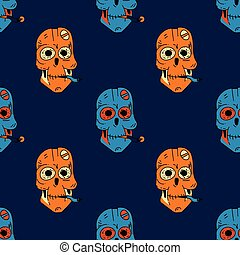 Smoking robot skull seamless pattern