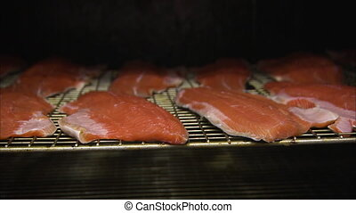 Smoking salmon inside a machine - A medium shot of salmon...