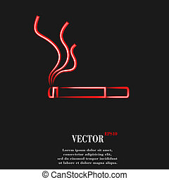 Smoking sign. cigarette. Flat modern web button and space for your text