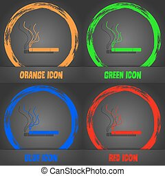 Smoking sign icon. Cigarette symbol. Fashionable modern style. In the orange, green, blue, red design. Vector