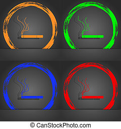 Smoking sign icon. Cigarette symbol. Fashionable modern style. In the orange, green, blue, red design.