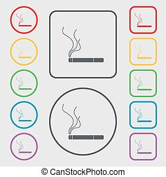 Smoking sign icon. Cigarette symbol. Symbols on the Round and square buttons with frame. Vector