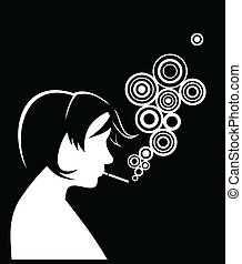 Silhouette of smoking people. Vector