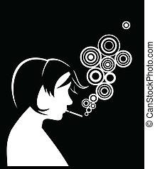 Smoking - Silhouette of smoking people. Vector