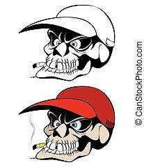Smoking skull in cap