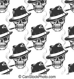 Smoking skull seamless pattern