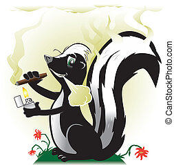 Smoking Skunk - A stinky skunk, happily smoking a cigar