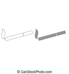 Smoking symbol. Cigarette grey color set icon .