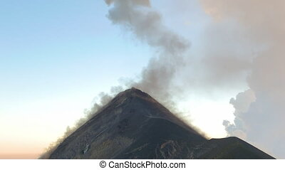 Smoking Tip of the Vulcan - Lava cooling down on the sides...