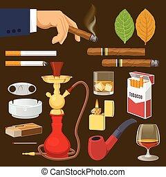 Smoking Tobacco Decorative Icons Set