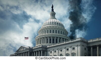 United States Capitol building with thick smoke rising
