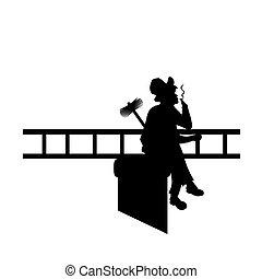 smoking., varredura, macho, silueta, desenhistas, ilustração, ter, vetorial, chaminé, cano, trabalho, ferramentas