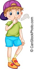 Smoking - Close up little boy smoking cigarette