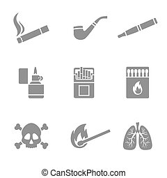 Smoking vector silhouette icons set. 9 elements