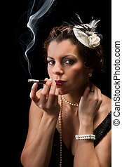 Smoking vintage lady