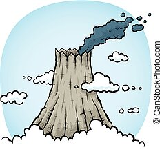 Smoking Volcano - Smoke drifts from the top of a rocky...