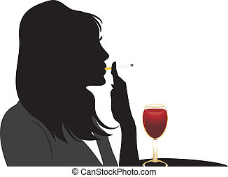 Silhouette of smoking woman with glass of red wine. Vector illustration