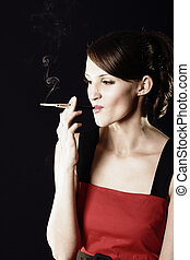 Smoking young woman in red