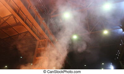 Smoky and hard working environment - Melting iron is...