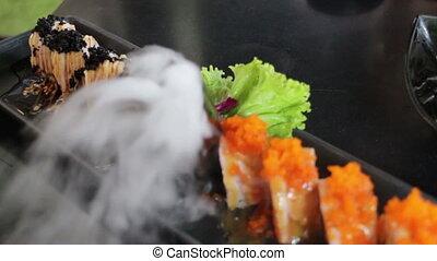 Smoky Display Of Salmon Sushi Plate