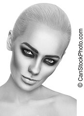 Smoky eyes - Black and white portrait of young beautiful ...