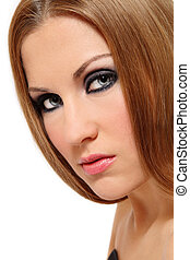 Smoky eyes - Close-up portrait of beautiful womanl with ...
