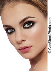 Smoky eyes - Close-up portrait of young beautiful stylish ...