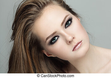 Smoky eyes - Close-up portrait of young beautiful teen girl ...