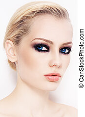 Smoky eyes - Close-up portrait of young beautiful woman with...