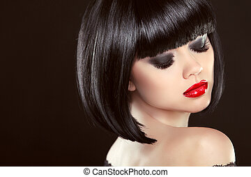 Smoky eyes makeup closeup. Black bob hairstyle. Sexy red lips. Brunette girl with shiny glossy short hair over dark background.