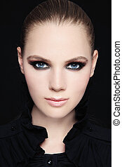 Smoky eyes - Portrait of beautiful stylish young woman with ...