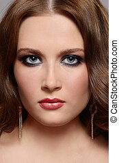 Smoky eyes - Portrait of beautiful young girl with smoky ...