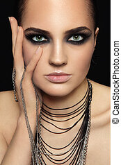 Smoky eyes - Portrait of young beautiful woman with smoky ...