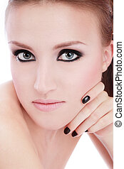 Smoky eyes - Portrait of young blond girl with smoky eyes
