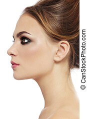 Smoky eyes - Profile portrait of young beautiful stylish ...