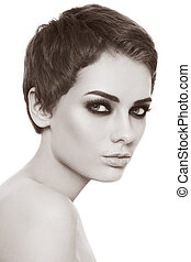 Smoky eyes - Sepia portrait of young beautiful woman with ...
