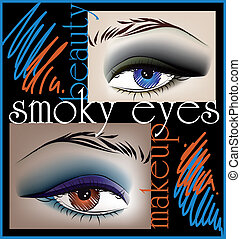 Smoky eyes, vector illustration