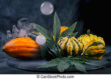 Thanksgiving background with autumnal squash, gourds and...