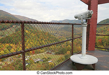 Smoky Mountain lookout - a set of binoculars and railing...