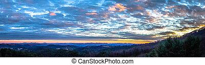 smoky mountains blue ridge panorama at sunset