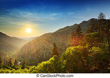 Smoky Mountains - Sunset at the Newfound Gap in the Great...