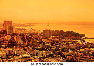 Smoky orange sky in San Francisco wildfire