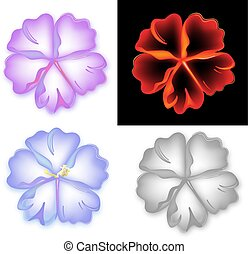 Smoky pattern flower five petal set isolated on background...