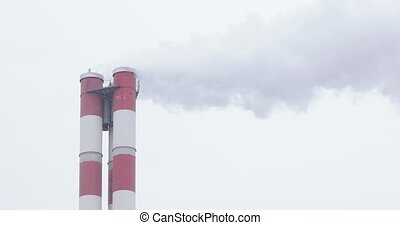 Two-pipe smoke from a thermal power plant