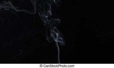 Smoky wave of steaming aroma stick - White smoky cloud of...