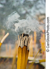 smoldering, bâtons, encens