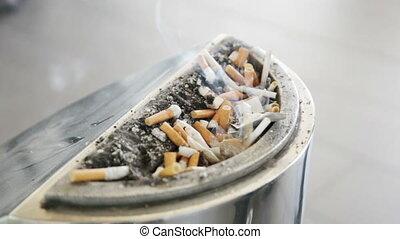 smoldering, cigarette, cendrier