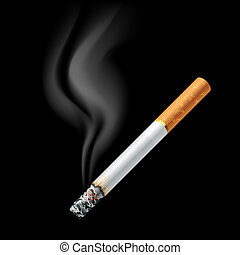 Smoldering cigarette - Vector illustration of a smoldering...