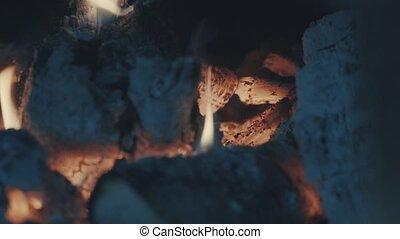 Smoldering coals, fire and ash